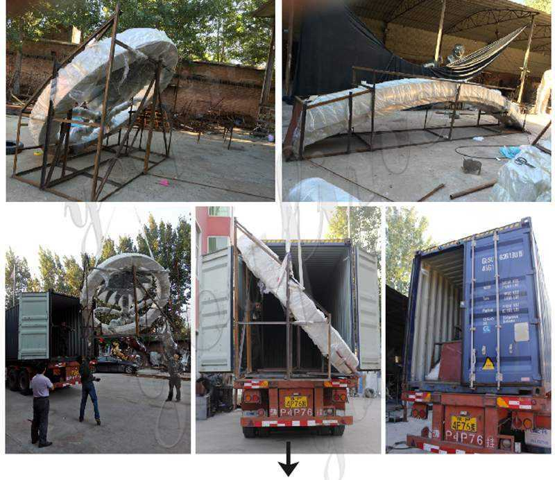 packing of large outdoor metal sculptures