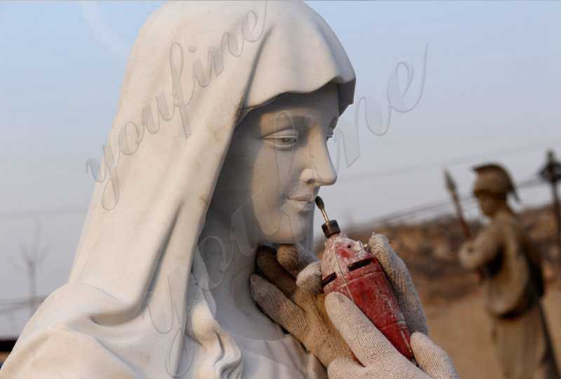process of virgin mary statue for garden