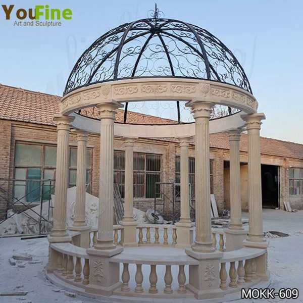 Beige Marble Stone Gazebo with Iron Top