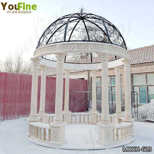 Beige Marble Stone Gazebo with Iron Top for Sale