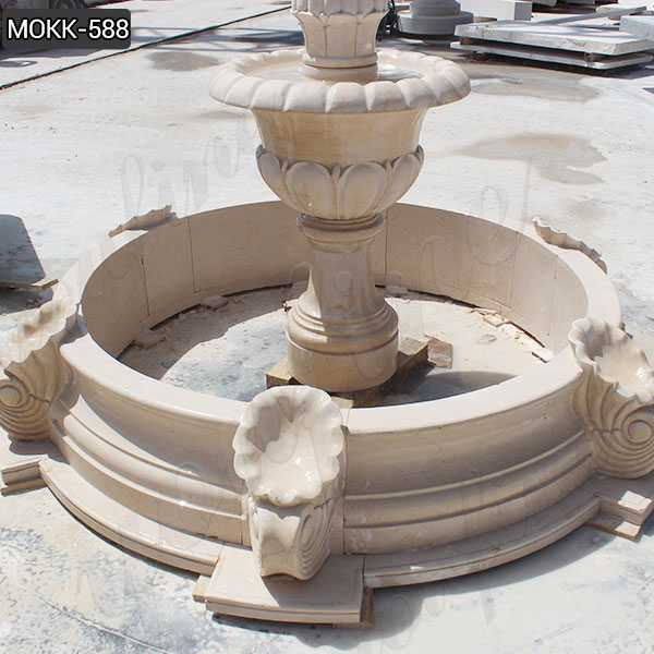 Beige Marble Water Fountain for Sale