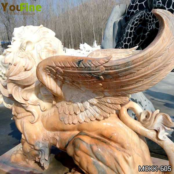 Beige Marble Winged Lion Statue Supplier