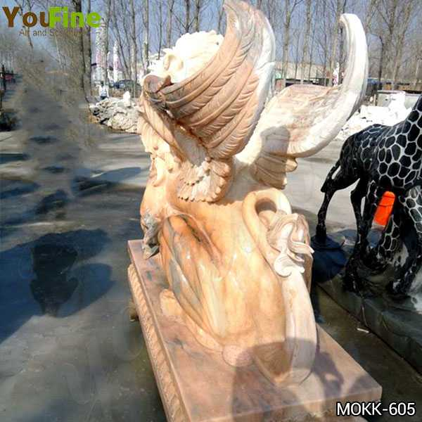 Beige Marble Winged Lion Statue