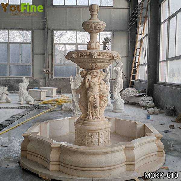 Beige Statuary Marble Water Fountain