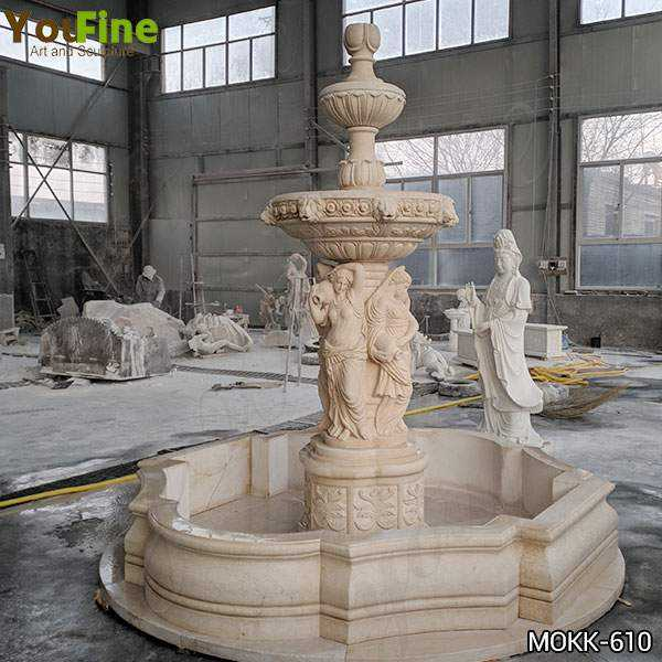 Beige Statuary Marble Water Fountain for Sale