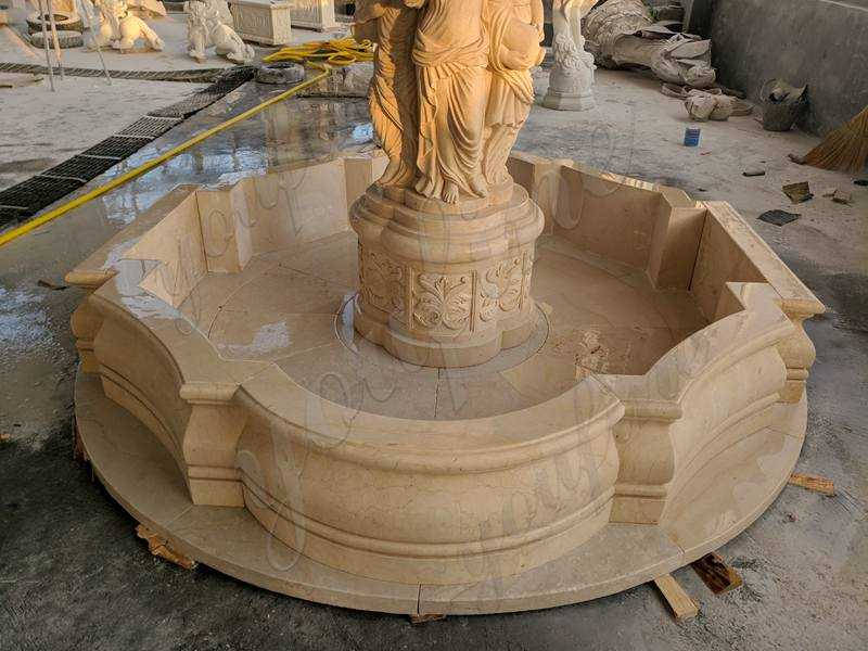 Completed Egyptian Beige Tiered Marble Statuary Fountain Made for Our Customer