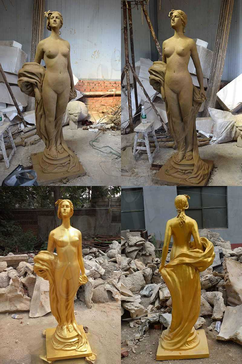 Custom Made Bronze Golden Woman Statue for Sale