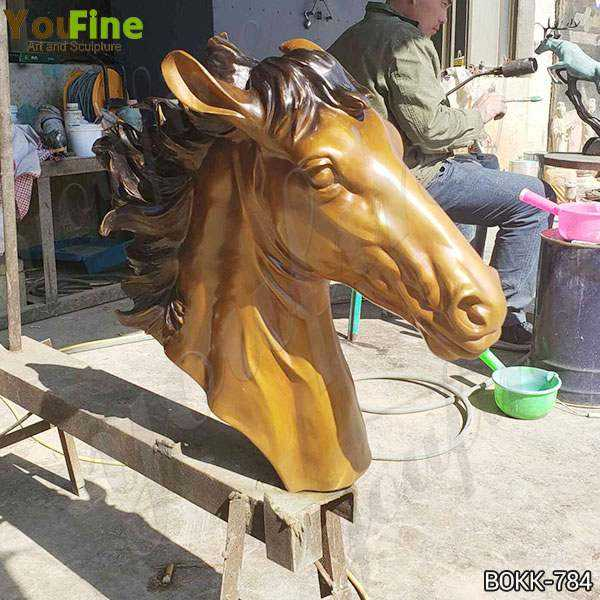 Custom Made Bronze Horse Head Statue art