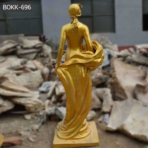 Custom Made Life Size Bronze Golden Woman Statue for Sale
