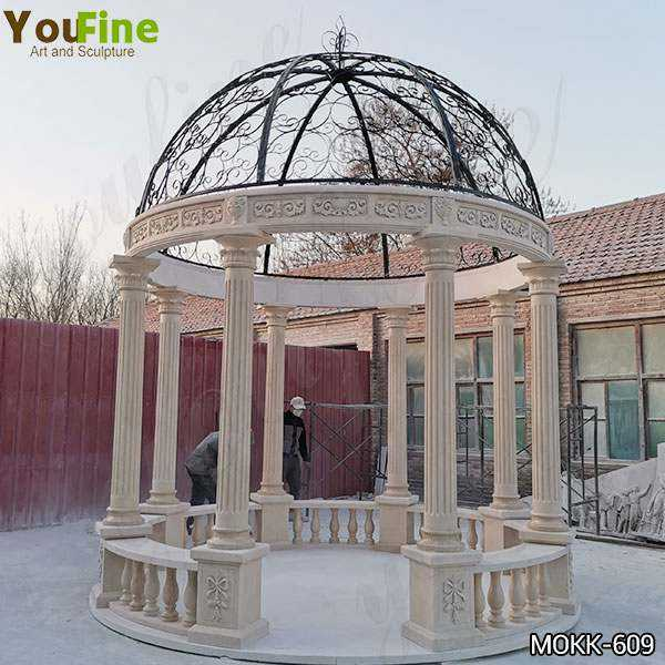Egyptian Beige Marble Stone Gazebo with Iron Top for Sale MOKK-609