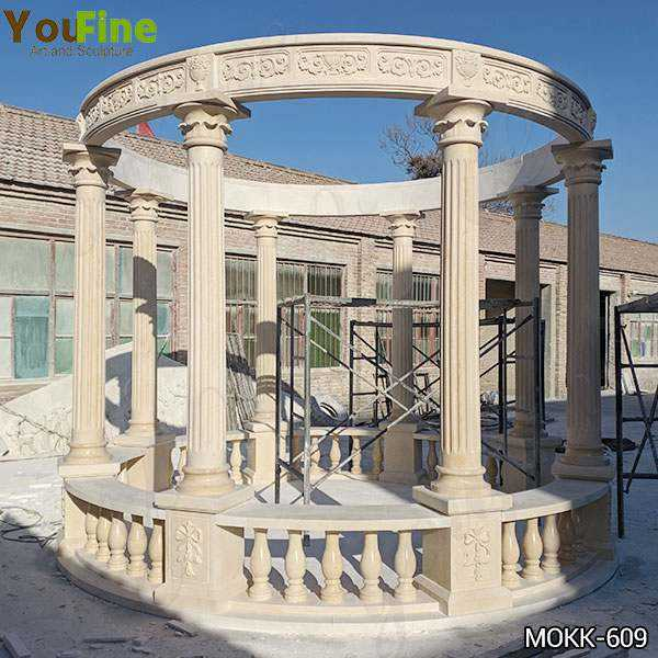 Egyptian Beige Marble Stone Gazebo with Iron Top