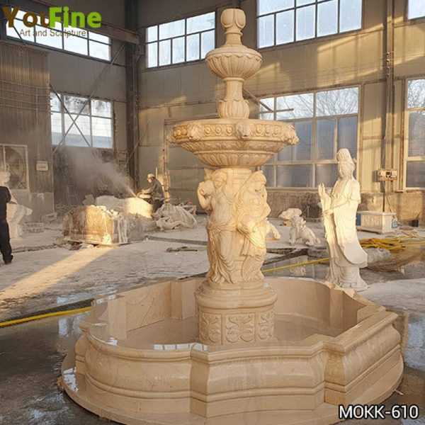Egyptian Beige Marble Water Fountain for Sale
