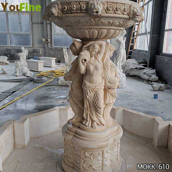 Egyptian Beige Statuary Marble Water Fountain