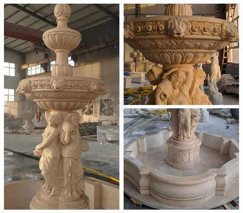 Egyptian Beige Statuary Marble Water Fountain for Sale