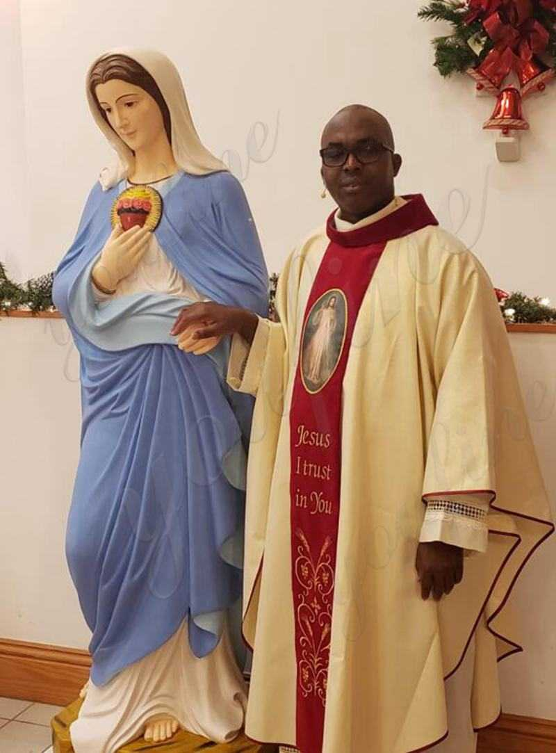 Feedback from Our Customer Colorful Painted Blessed Mother Mary Marble Statue