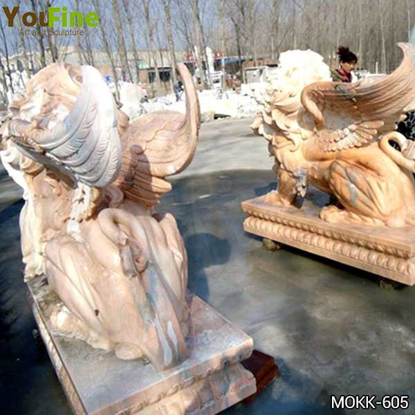 Hand Carved Beige Marble Winged Lion Statue Supplier