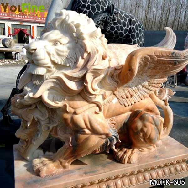 Hand Carved Beige Marble Winged Lion Statue