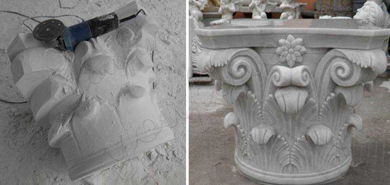 Hand carved White Marble Columns Pedestal Classic Corinthian Order