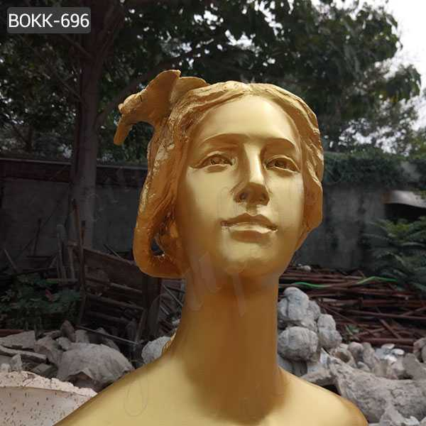 Life Size Bronze Golden Woman Statue for Sale
