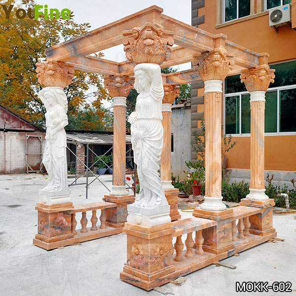 Red Marble Gazebo with Female Statues Design for Backyards Supplier MOKK-602
