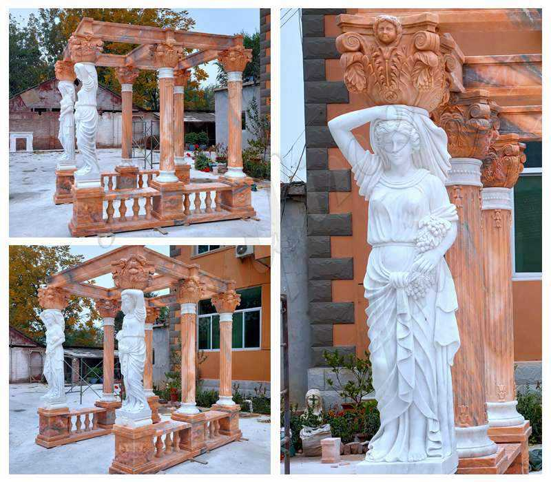 Marble Gazebo with Female Statues Design for Backyards