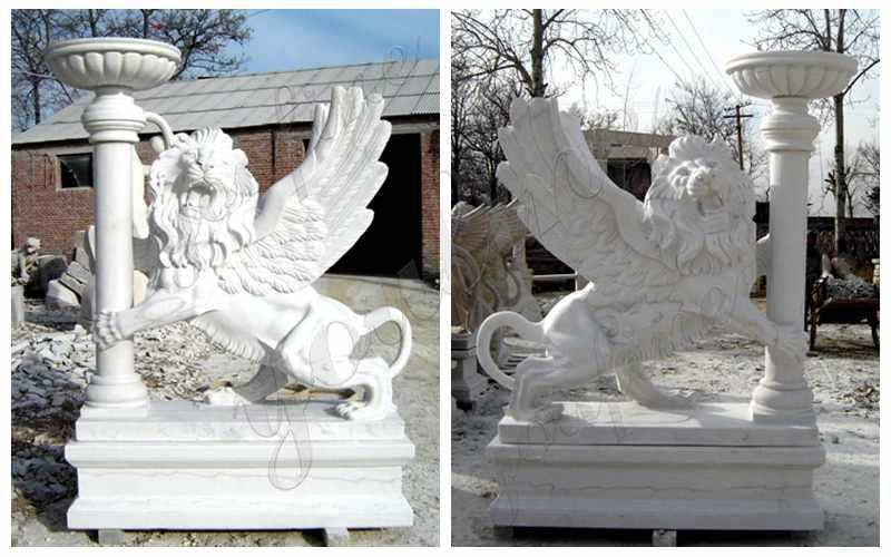Marble Winged Lion Statue with Planter Pot for Front Porch