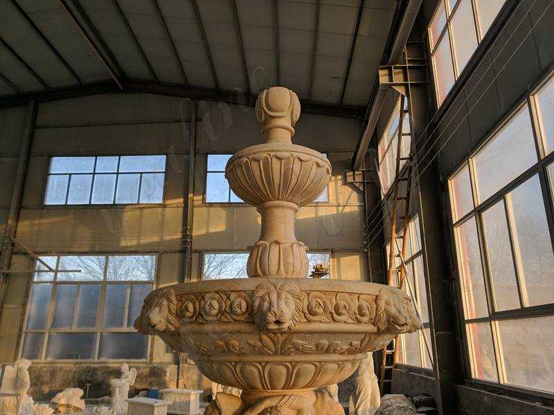 Newly Completed Egyptian Beige Tiered Marble Fountain