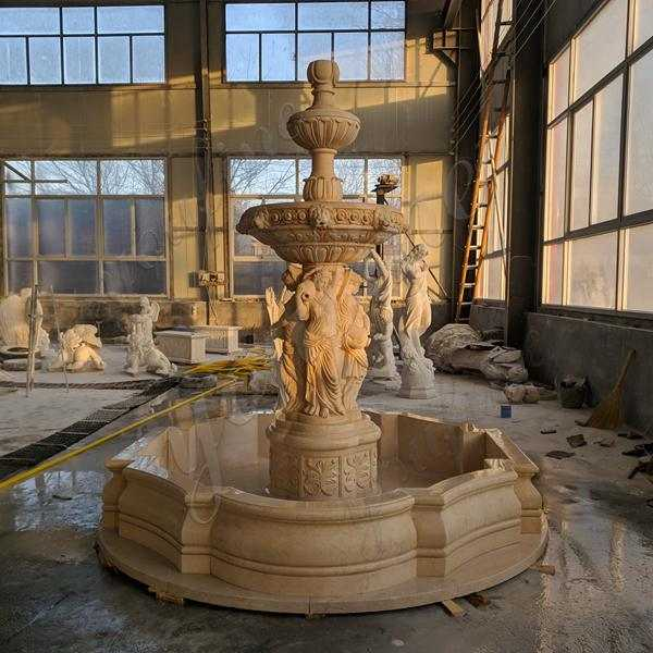 Newly Completed Egyptian Beige Tiered Marble Statuary Fountain Made for Our Customer