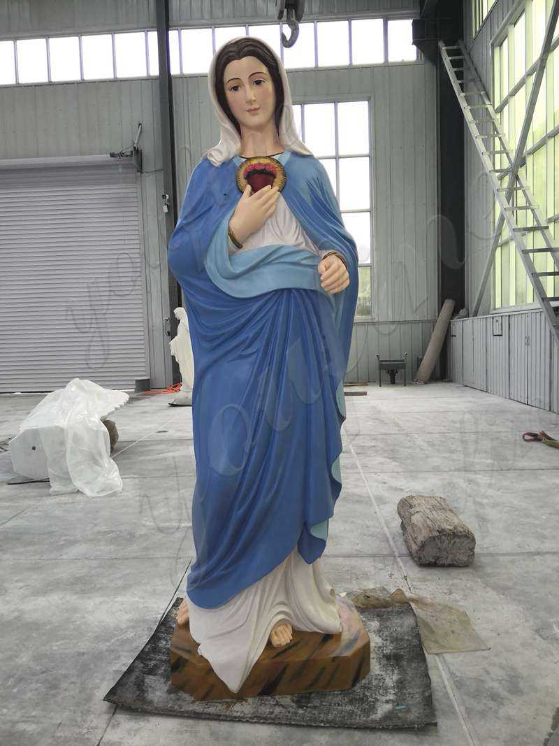 Our Customer Colorful Painted Blessed Mother Mary Marble Statue