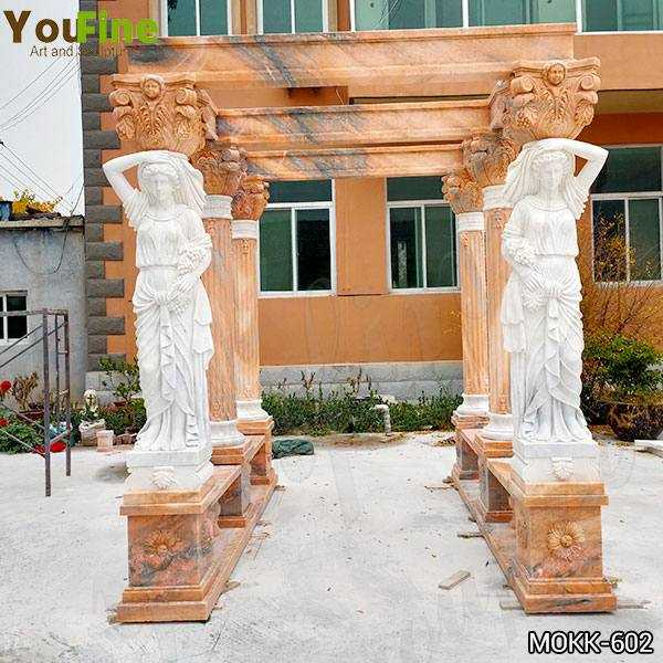 Red Marble Gazebo with Female Statues Design for Backyards Supplier
