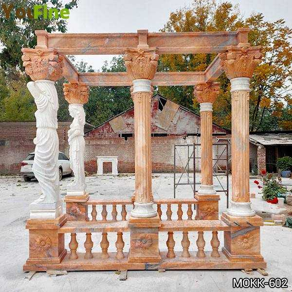 Red Marble Gazebo with Female Statues Design for Backyards