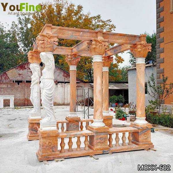 Red Marble Gazebo with Female Statues Design