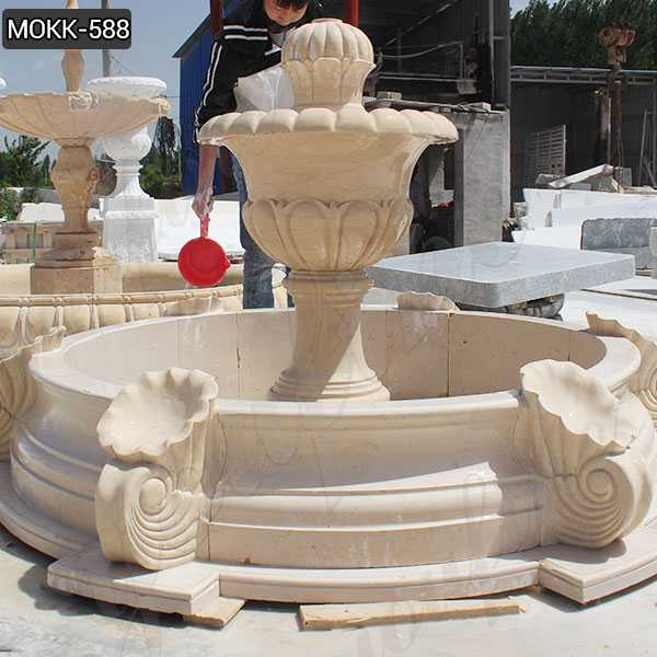 Small Beige Marble Water Fountain for Sale