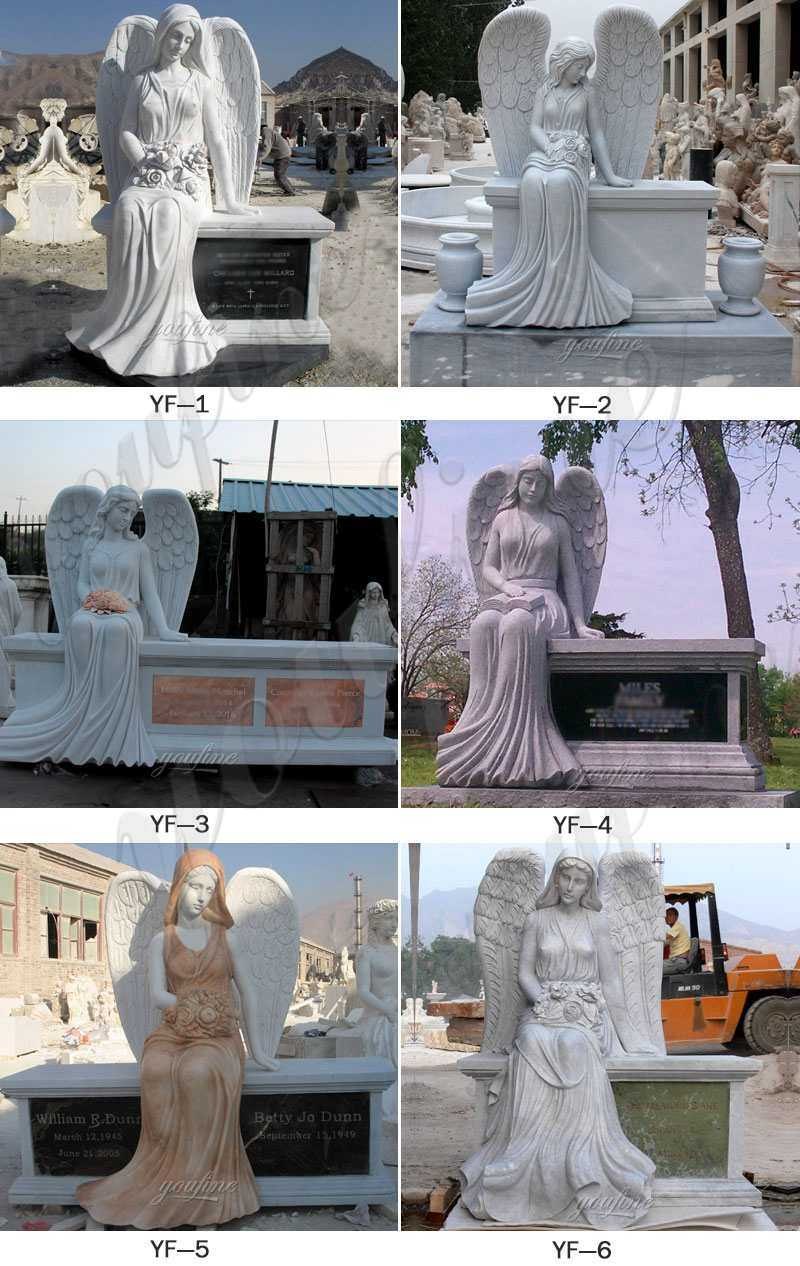White Marble Angel Memorials Headstone for Sale