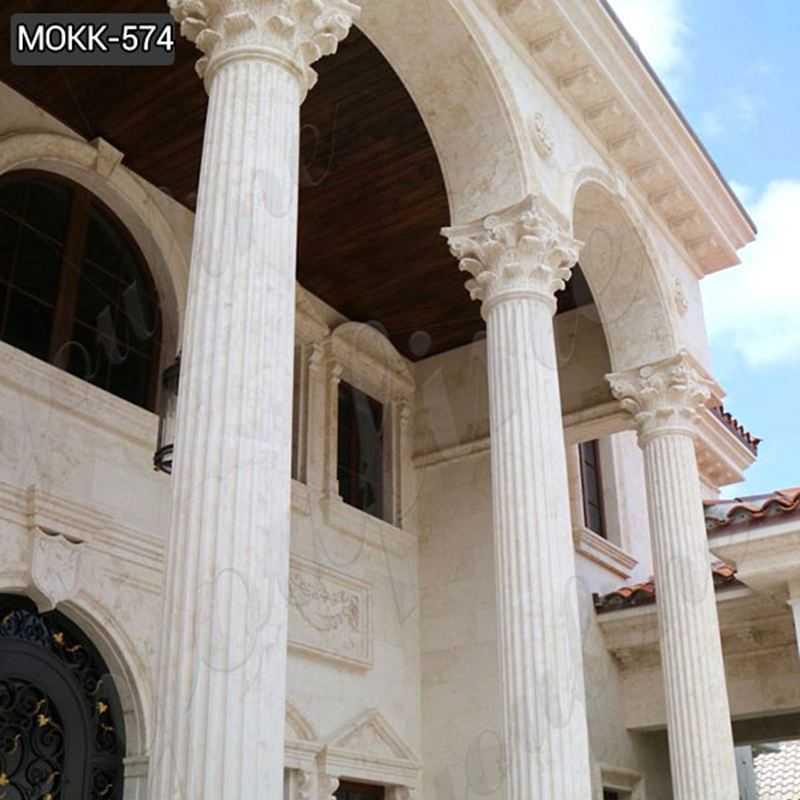 White Marble Columns Pedestal Classic Corinthian Order Supplier MOKK-574