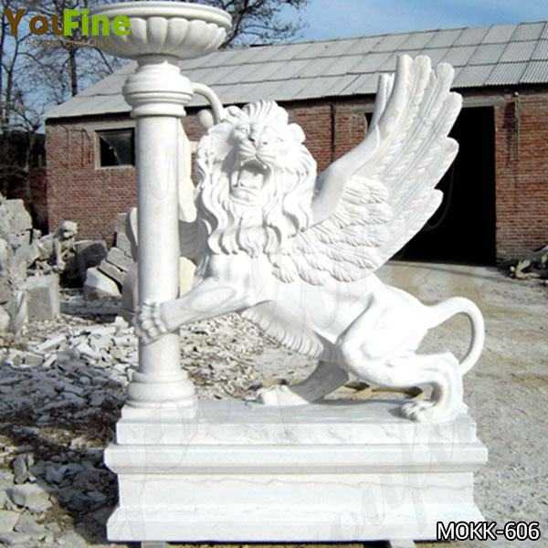White Marble Winged Lion Statue with Planter Pot for Front Porch