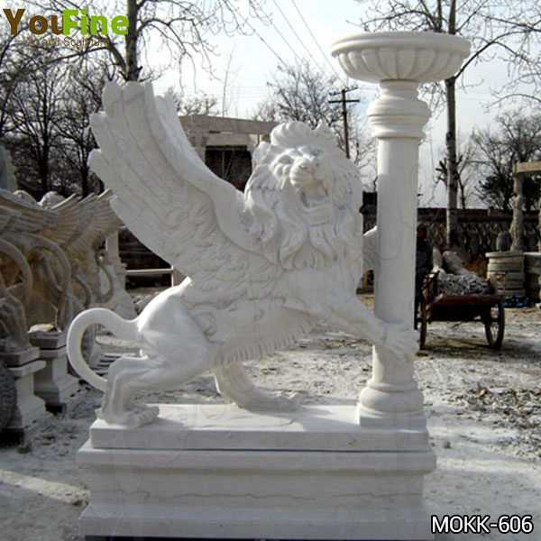 White Marble Winged Lion Statue with Planter Pot
