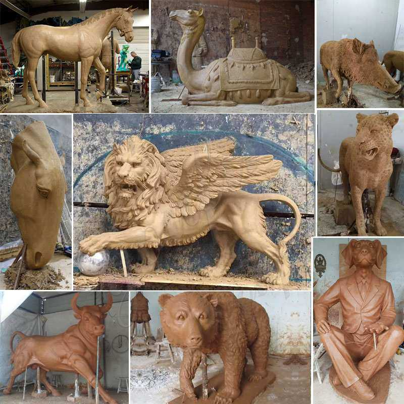 clay model of bronze animal statues
