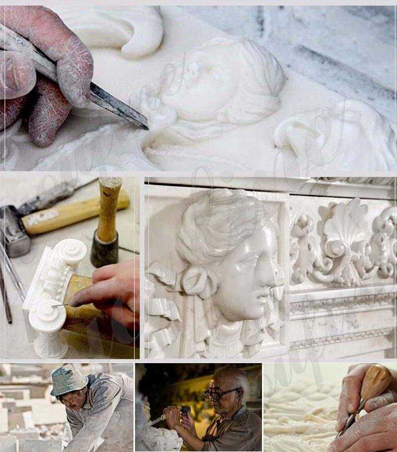 process of Red Marble Gazebo with Female Statues