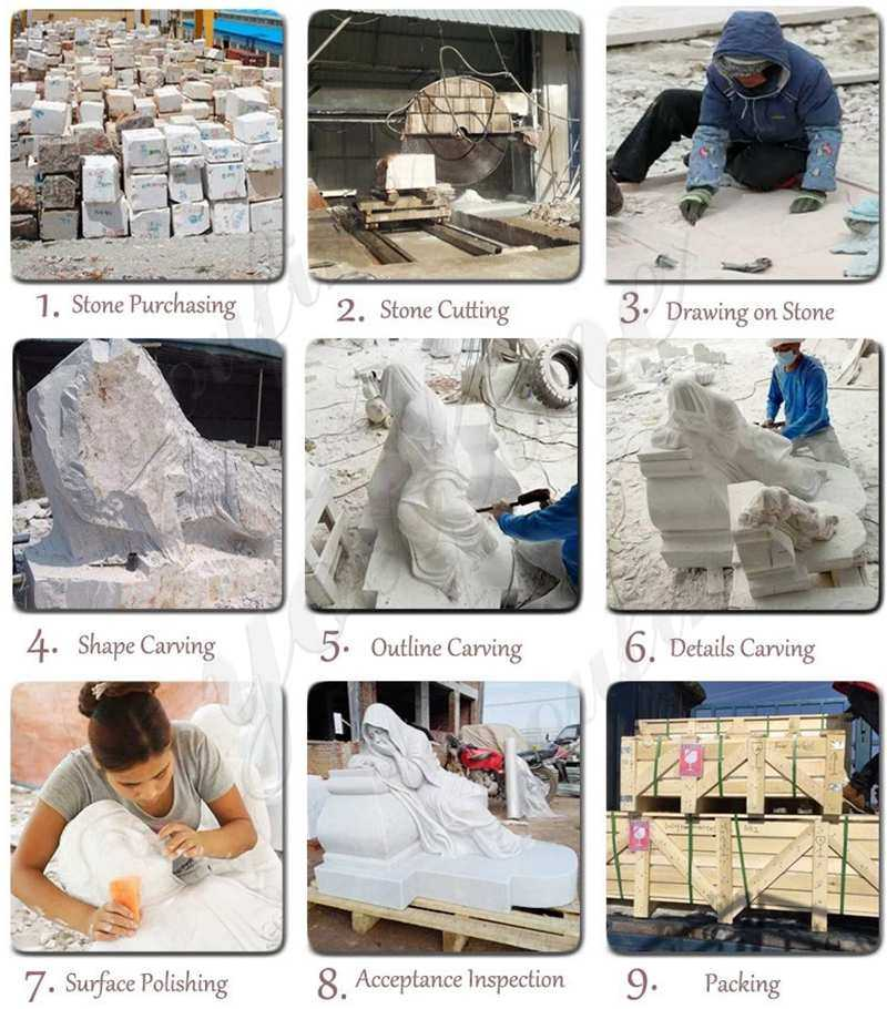 process of White Marble Angel Memorials Headstone for Sale