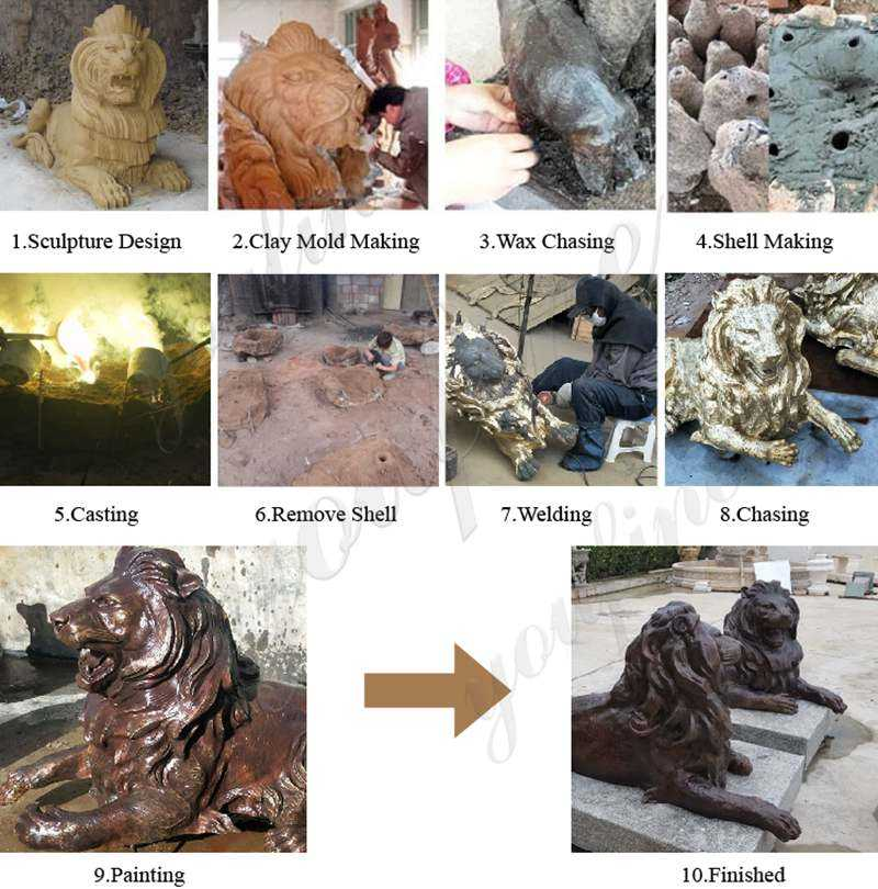 process of lion statue home decor