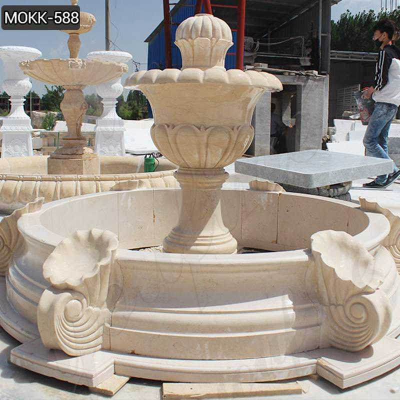 Small Beige Marble Water Fountain for Sale MOKK-588