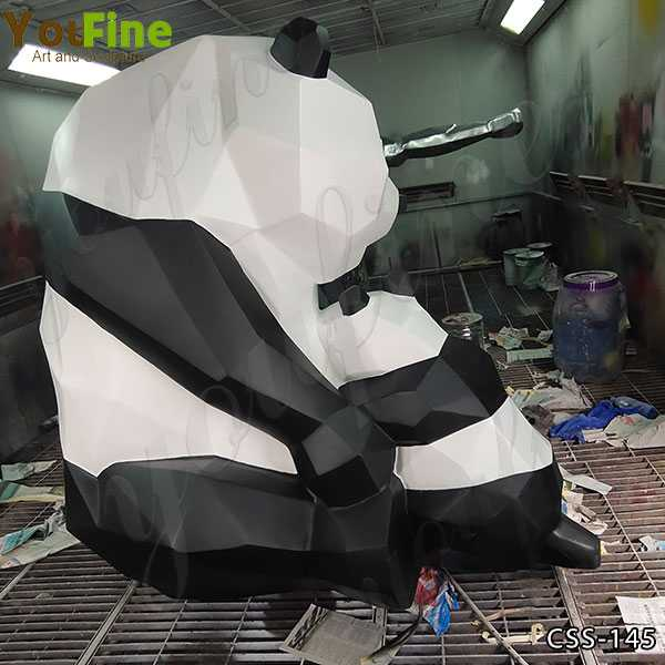 Abstract Stainless Steel Panda Sculpture for Sale