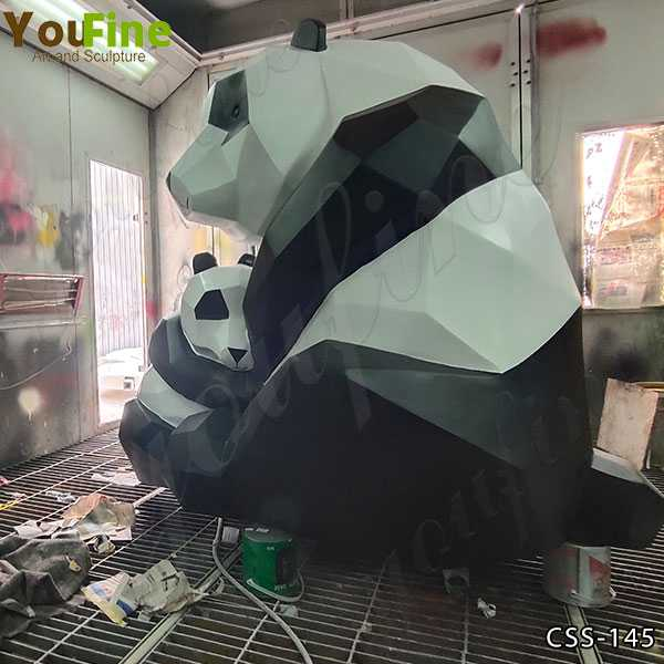 Abstract Stainless Steel Panda Sculpture