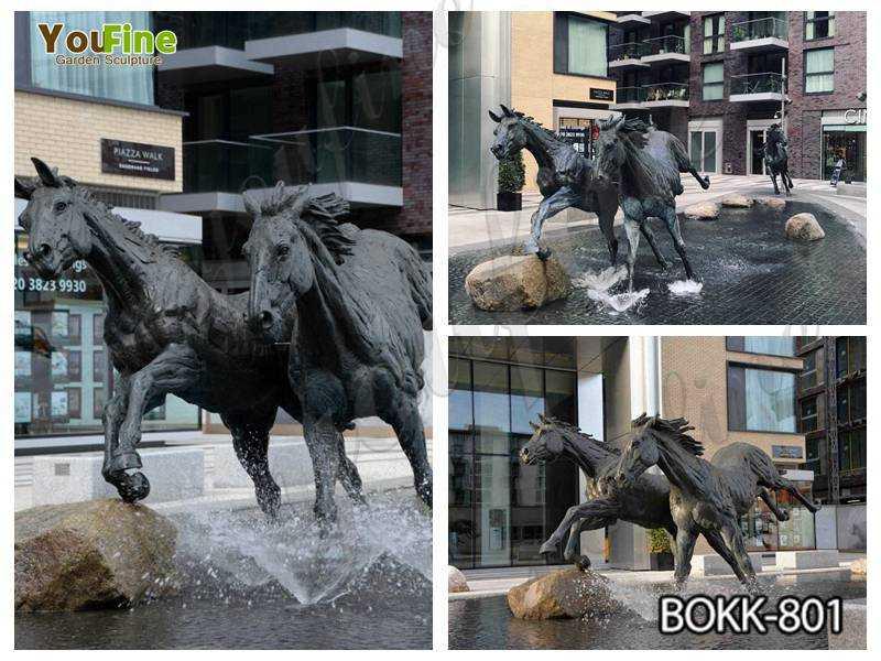 Antique Black Bronze Running Horse Statue