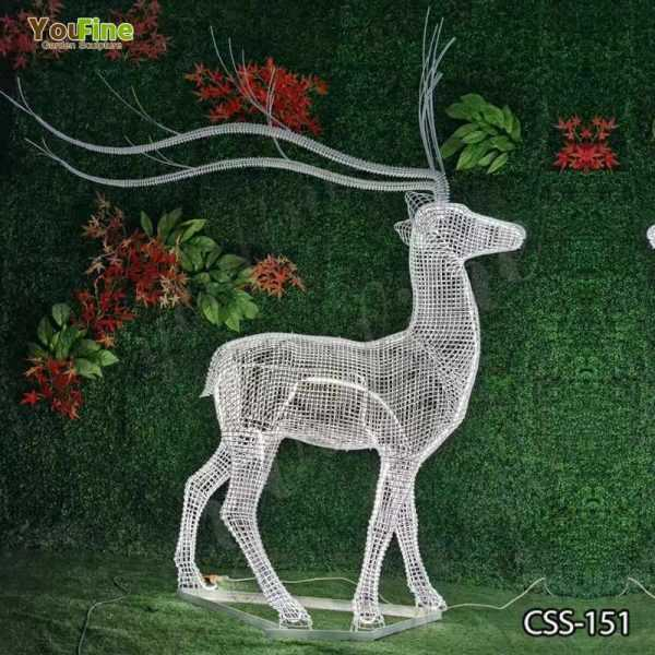 Beautiful Deer Sculpture Made of Stainless Steel Wire for Sale