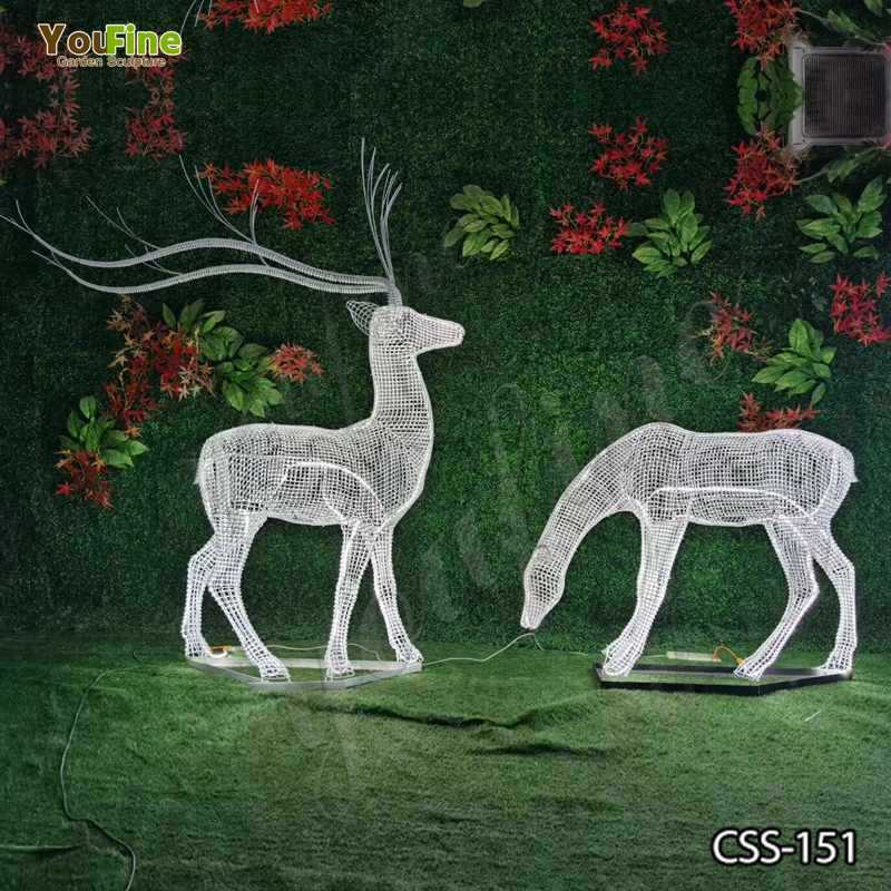 Beautiful Deer Sculpture Made of Stainless Steel Wire for Sale CSS-151