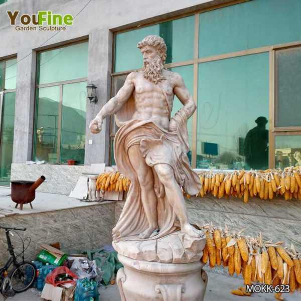 Beige Marble Statue Classic Roman God of the Sea