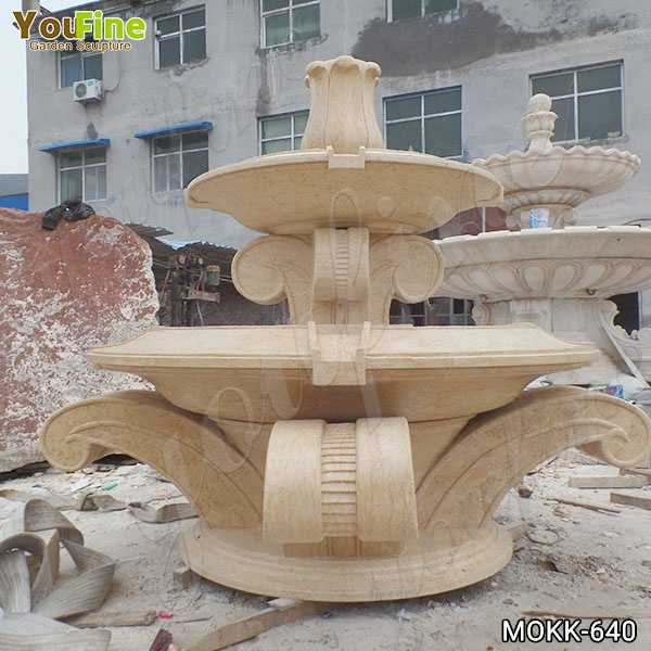 Beige Marble Tiered Water Fountain