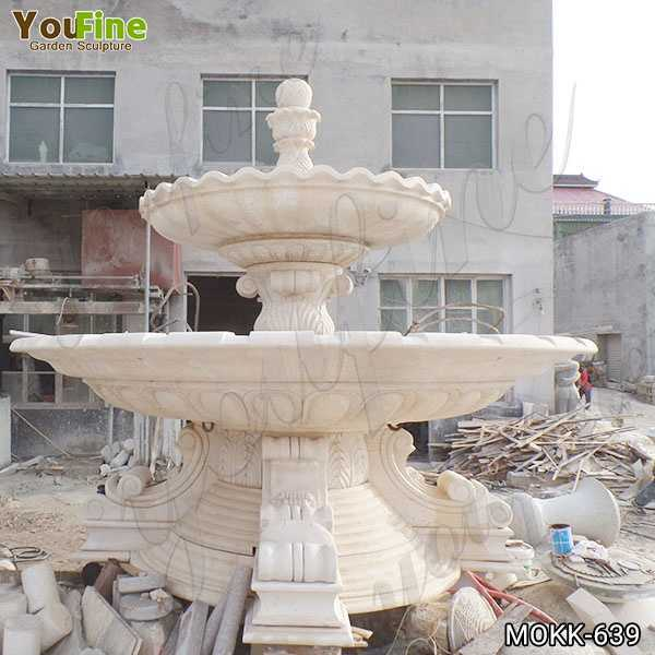Beige Marble Two Tiered Fountain